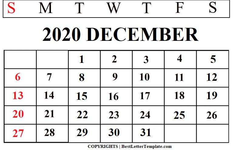December 2020 Calendar For Kids