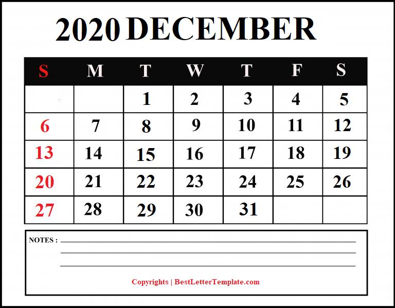 December 2020 Calendar For students