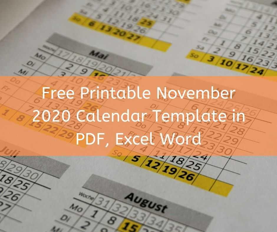 Free Printable November 2020 Calendar Template in PDF, Excel