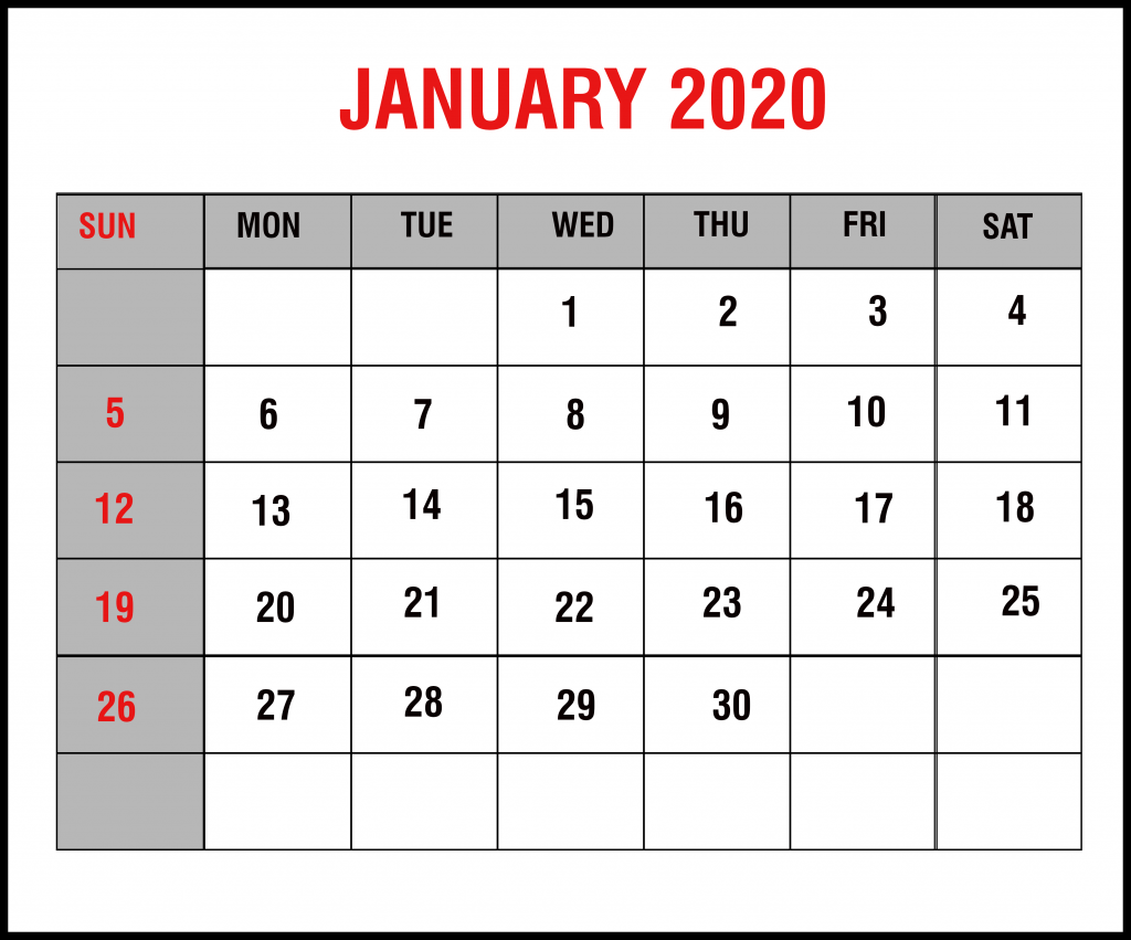 2020 January Calendar in Landscape