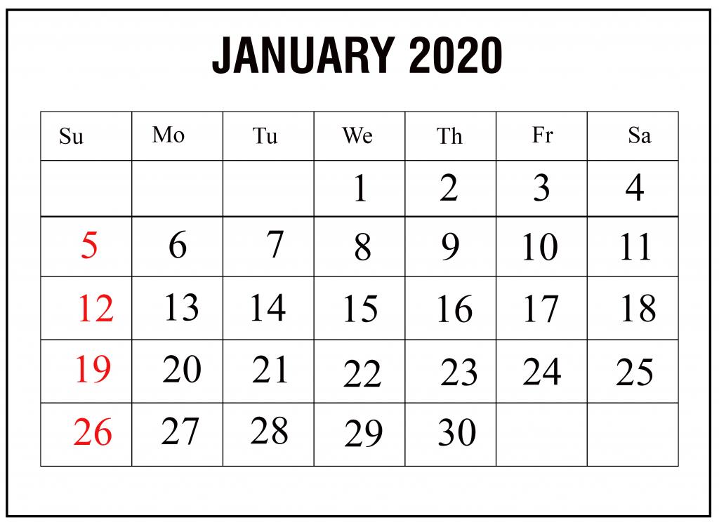 January 2020 Printable Calendar