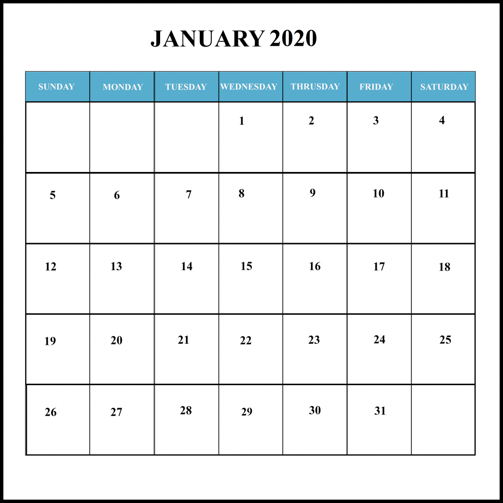 January Holiday Calendar 2020