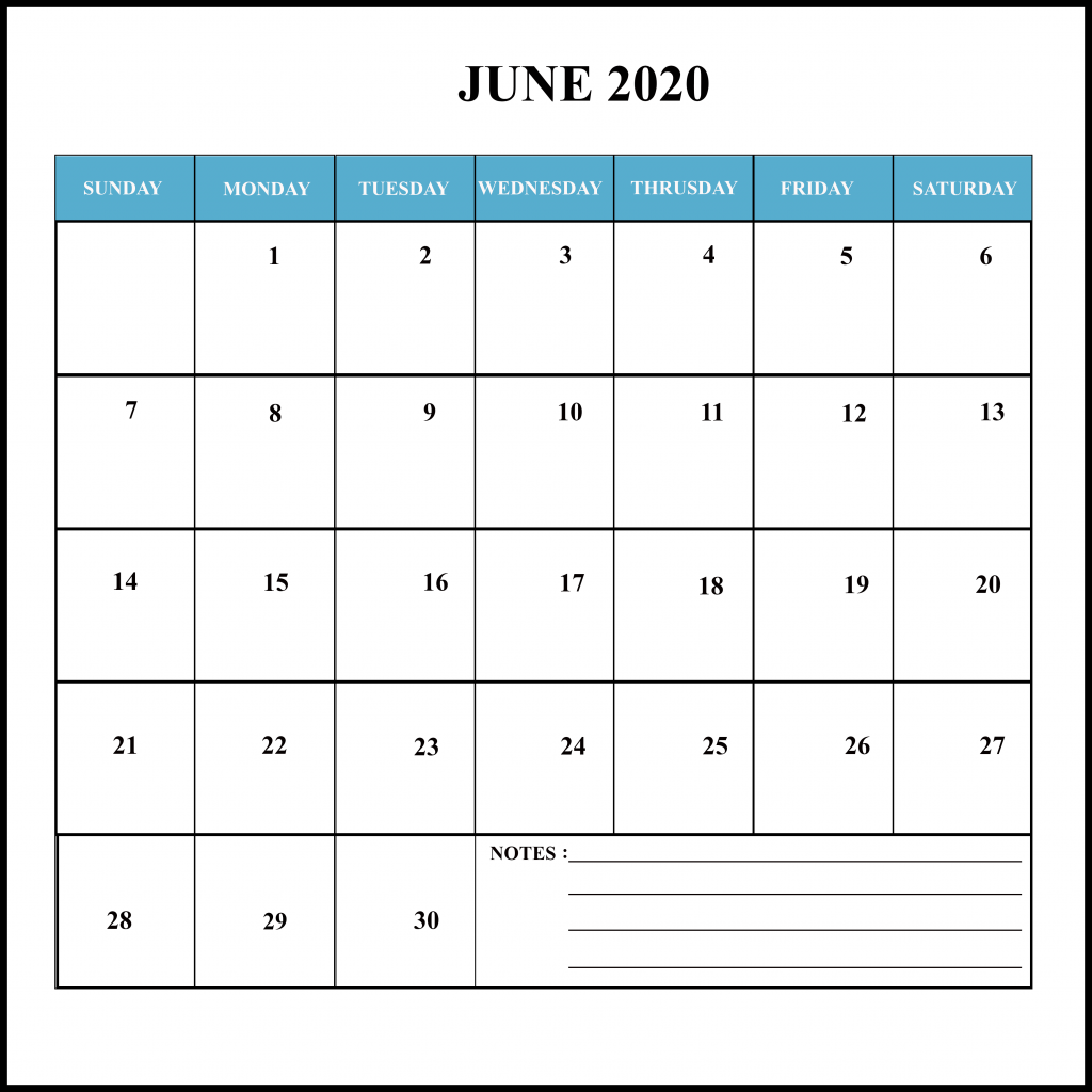 June 2020 Holiday Calendar