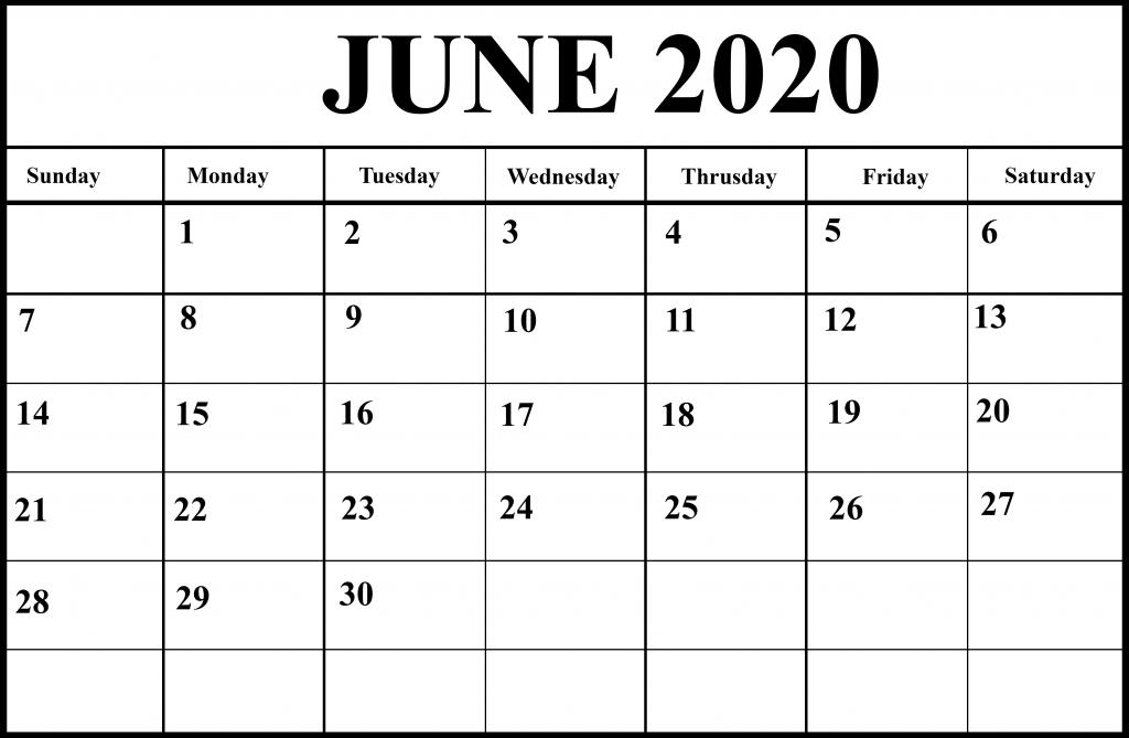 Printable June 2020 Holiday Calendar