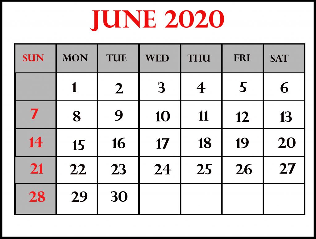 June 2020 Calendar For Kids