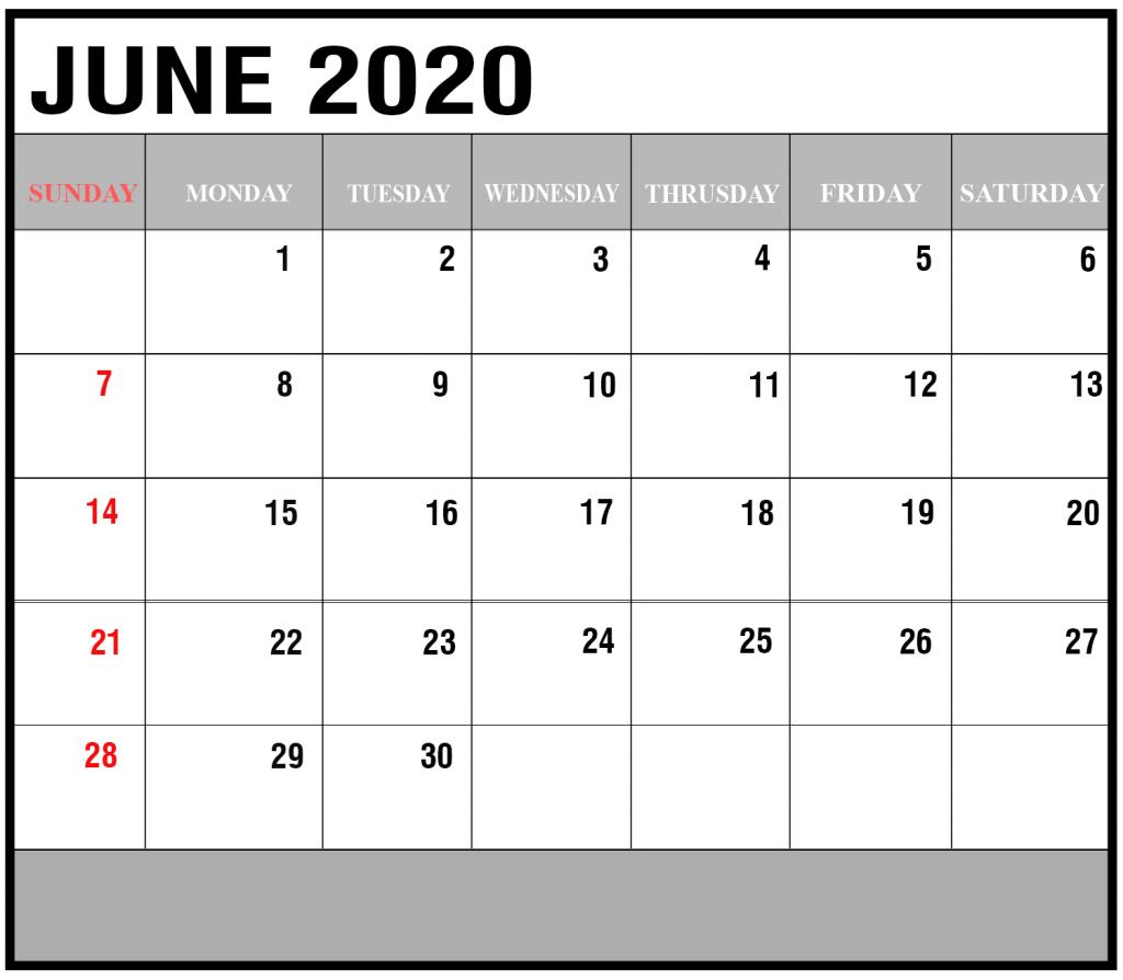 June 2020 Calendar Template