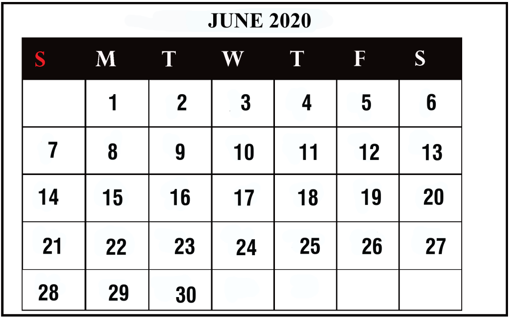 June 2020 Calendar in Landscape