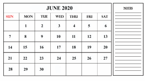 2020 June Calendar with Notes