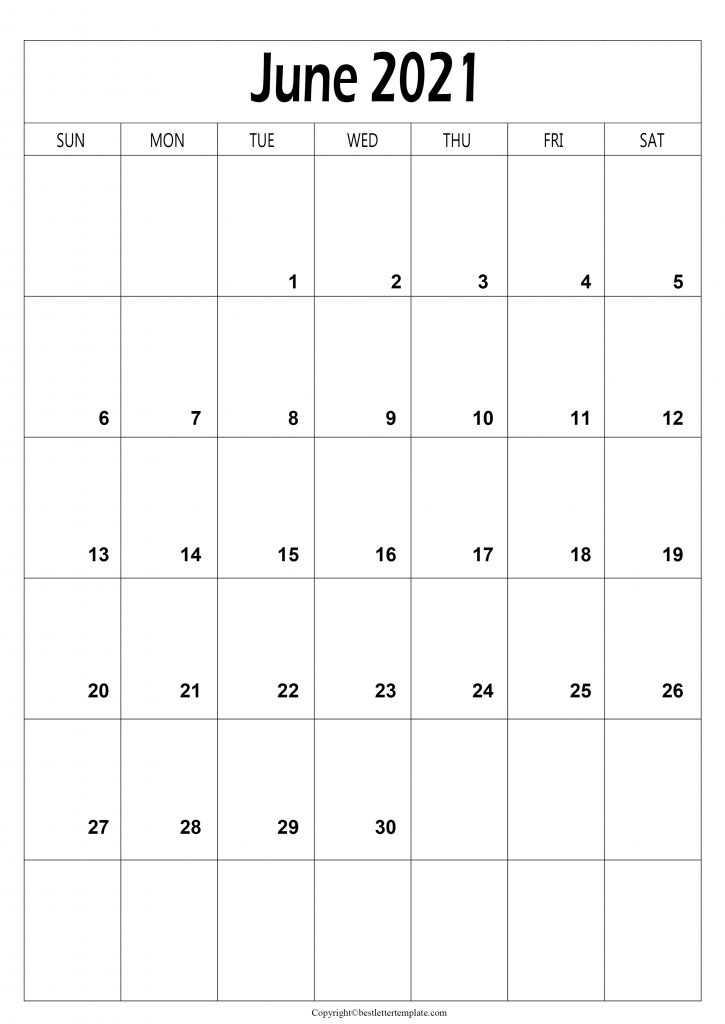 June 2021 Calendar A4