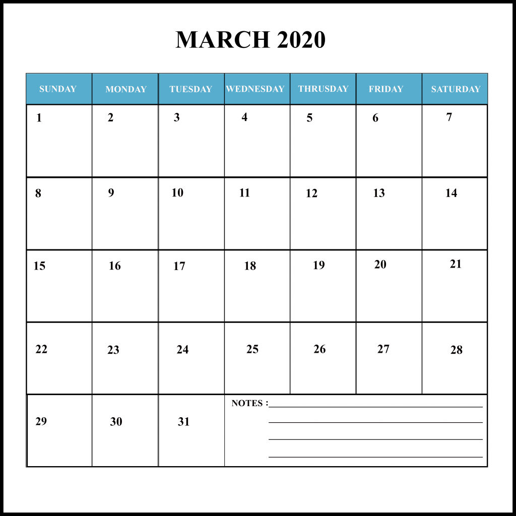 March Holiday Calendar 2020