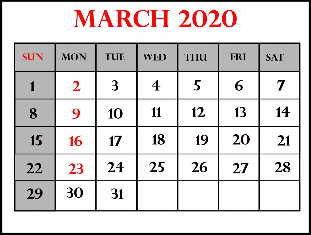 March 2020 Calendar For Kids