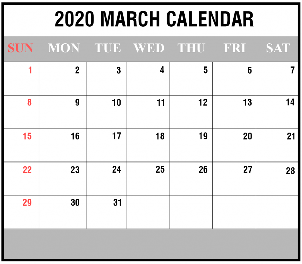 March 2020 Printable Calendar