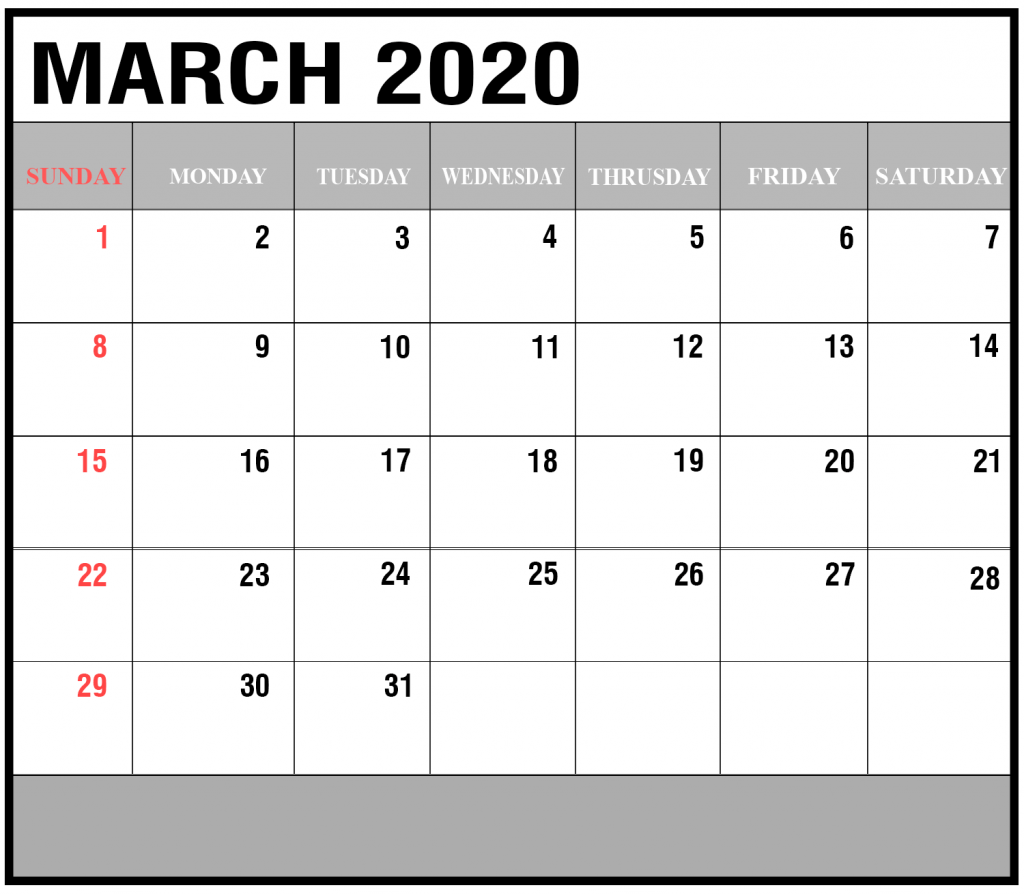 March 2020 Calendar For Students/Kids