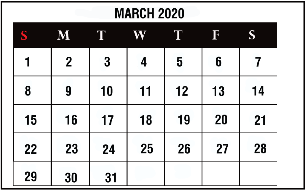 2020 March Calendar in Landscape