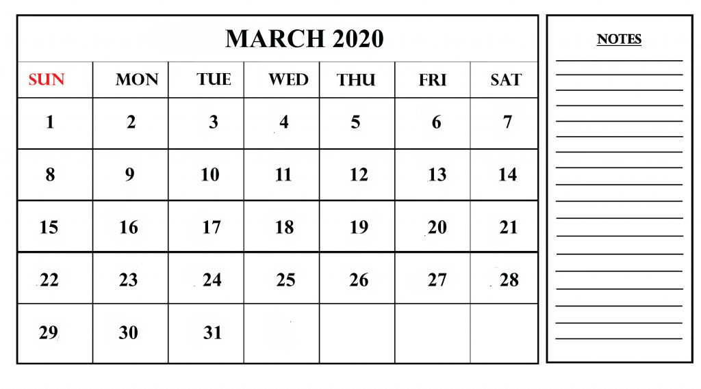 March Calendar 2020 With Notes
