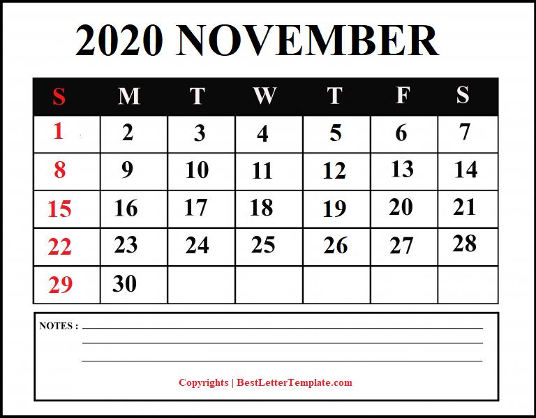 November 2020 Calendar for students