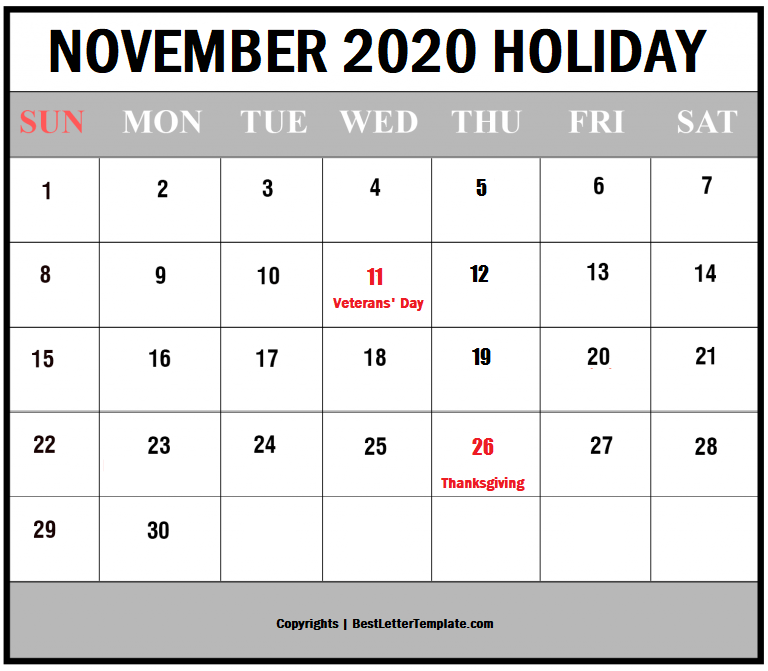 November Holiday Calendar 2020