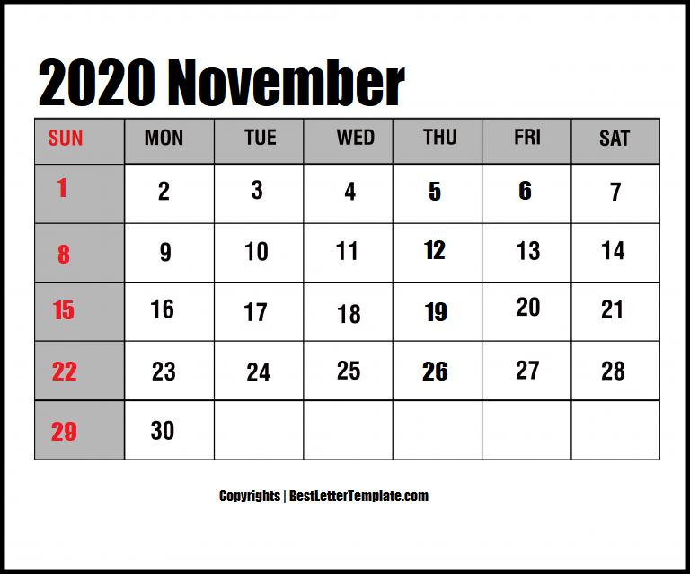 November 2020 Calendar in Landscape Format