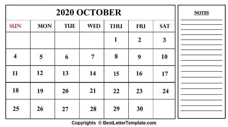 October 2020 Calendar in Landscape format