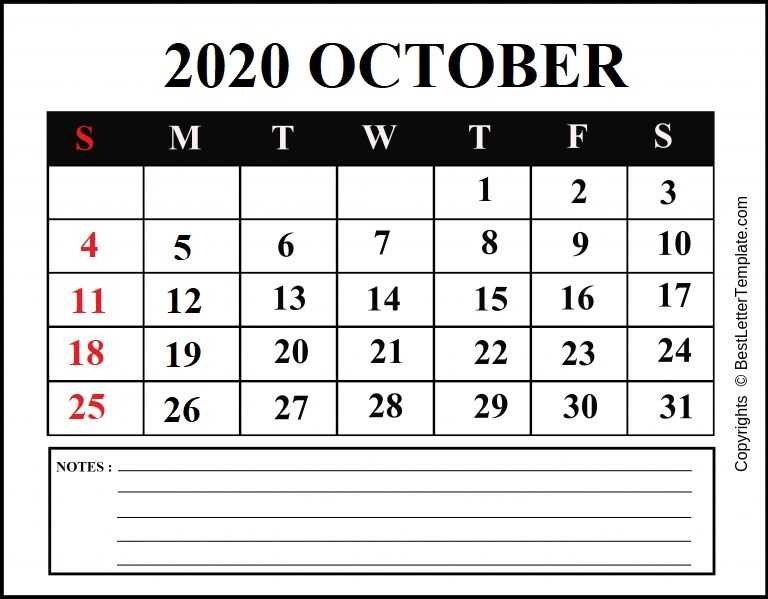 October 2020 Calendar for students