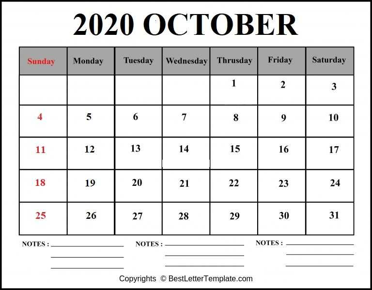 October 2020 Calendar with notes