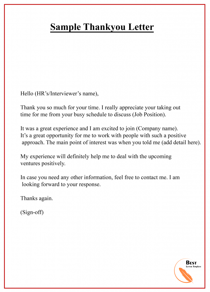 Thank You Letter Email Format from bestlettertemplate.com