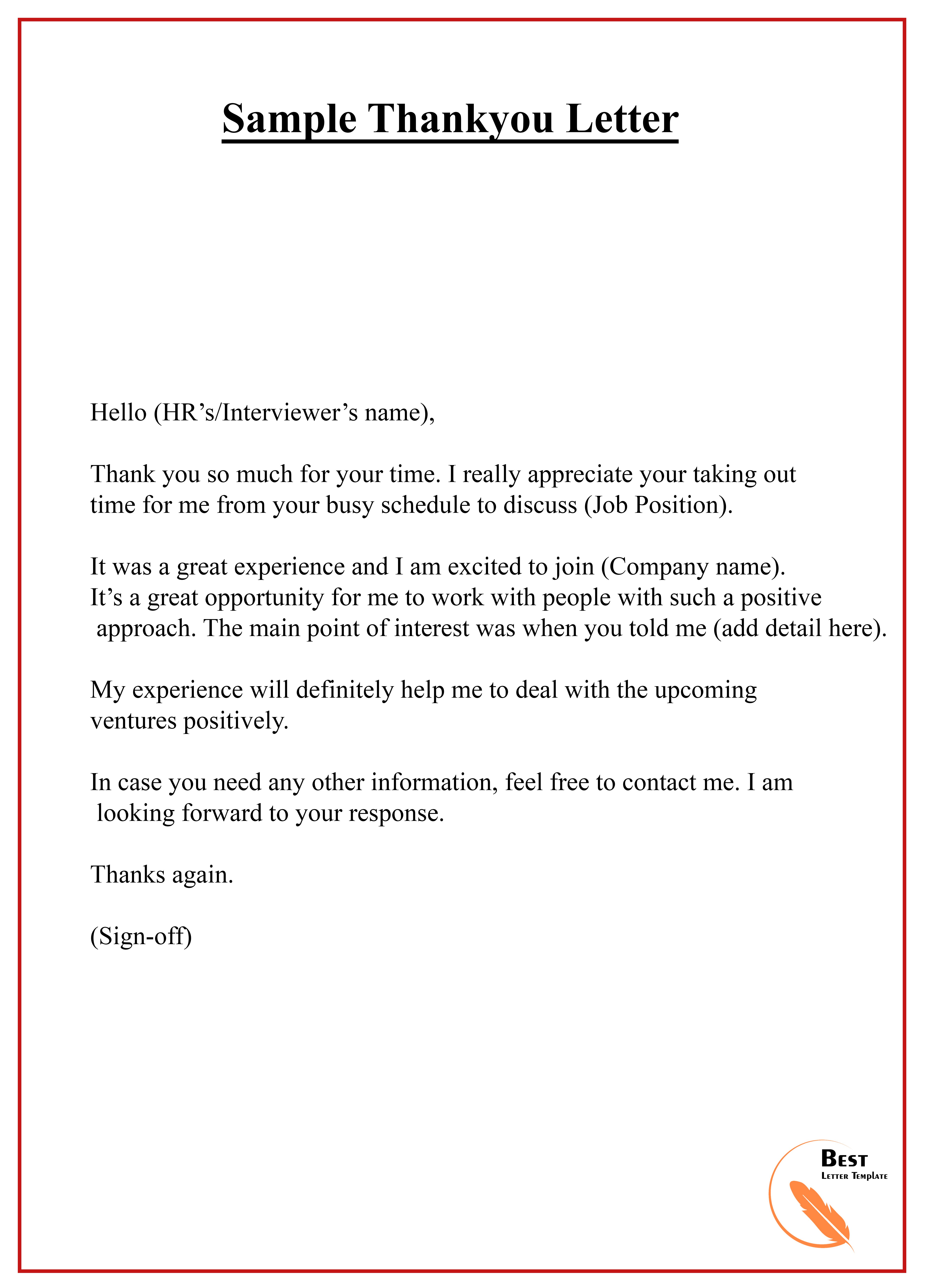 Thankyou Letter Best Letter Template