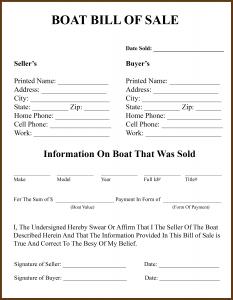 Boat bill of sale