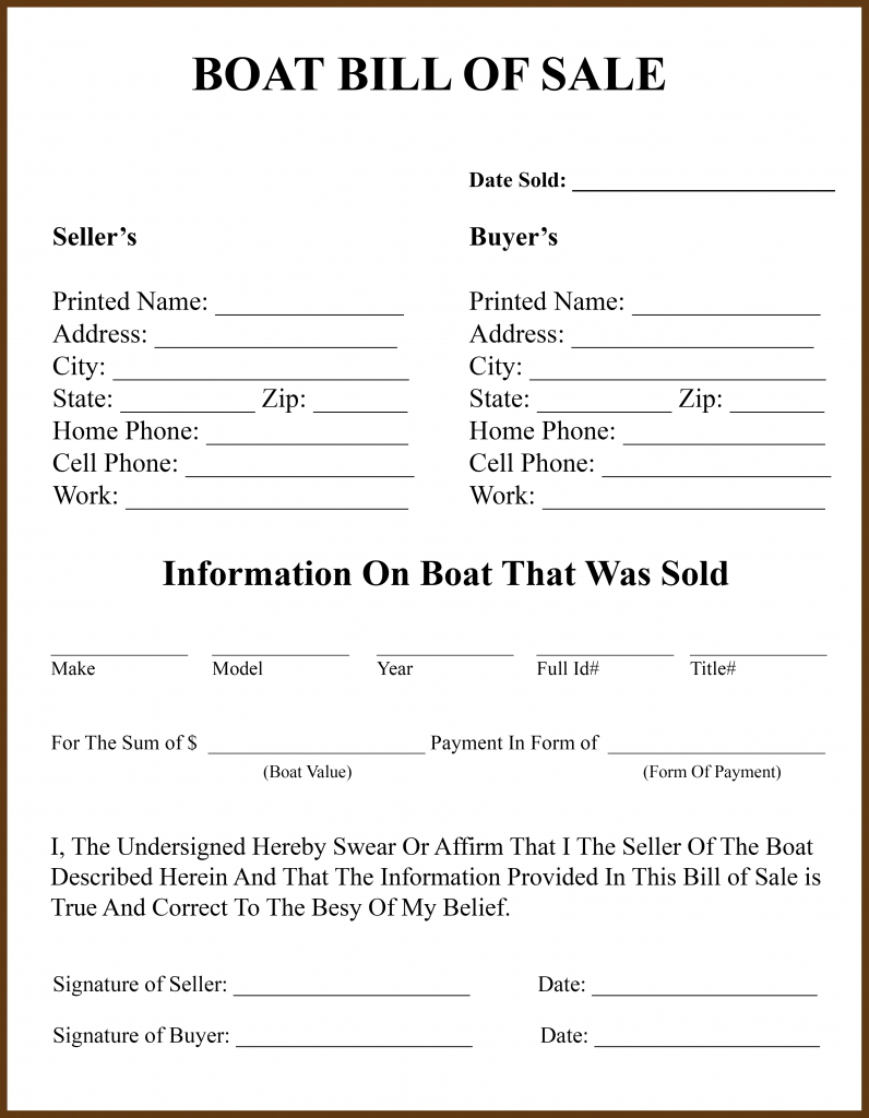 Louisiana Bill Of Sale Form For Dmv Car Boat Pdf Word
