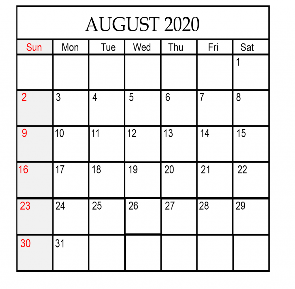 2020 August Calendar in A4/Portrait