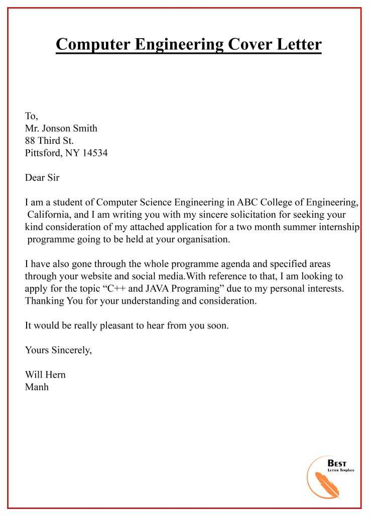 Computer Science Cover Letter from bestlettertemplate.com