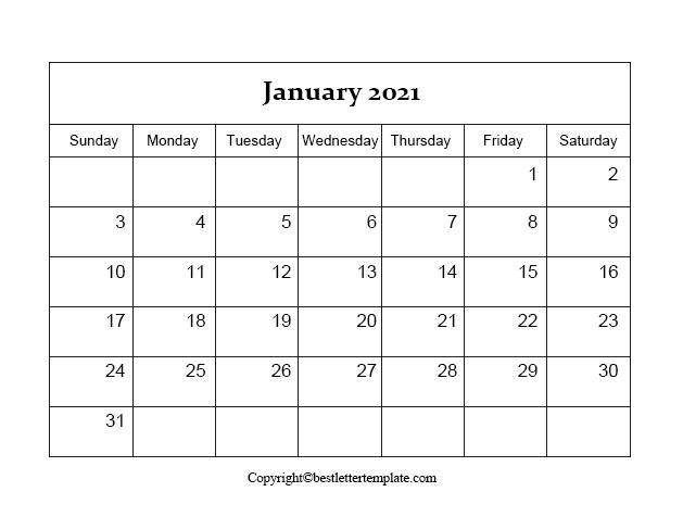 january 2021 Printable Calendar