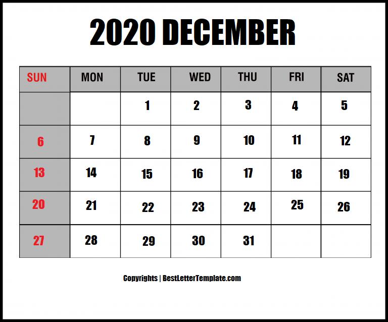 december 2020 calendar in landscape format