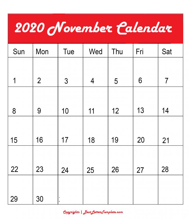 November 2020 Calendar in A4 Format