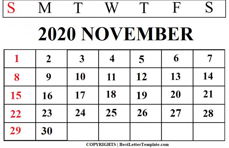 November 2020 Calendar for kids