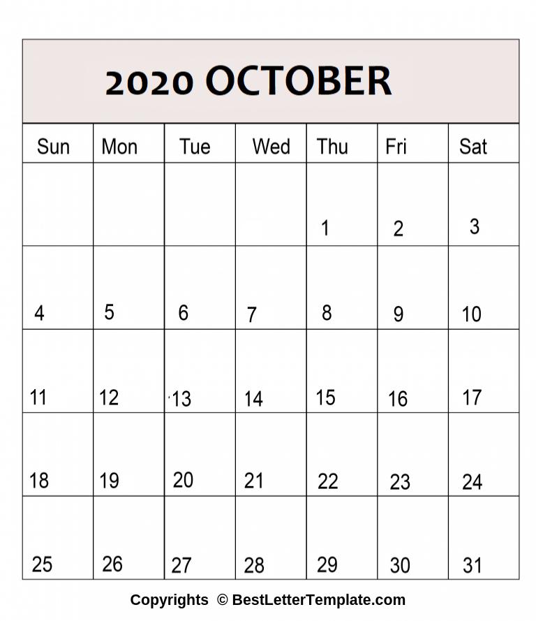 October 2020 Calendar in A4 Format