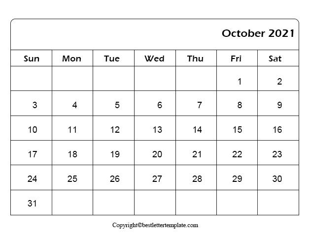 Free Printable October 2021 Calendar Template In Pdf Excel Word