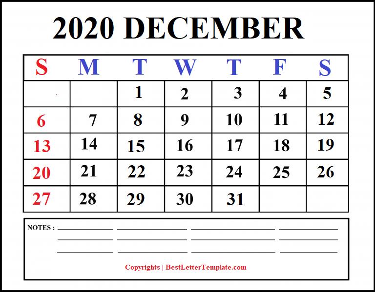 december 2020 calendar with notes