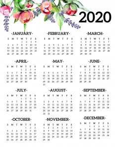 2019 One Page Calendar with Holidays