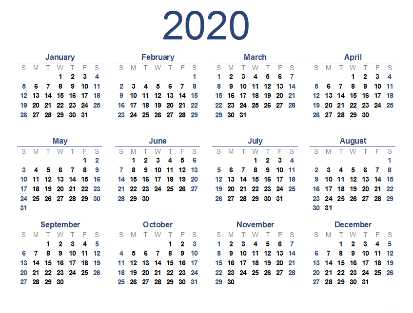 Printable One Page Calendar 2020