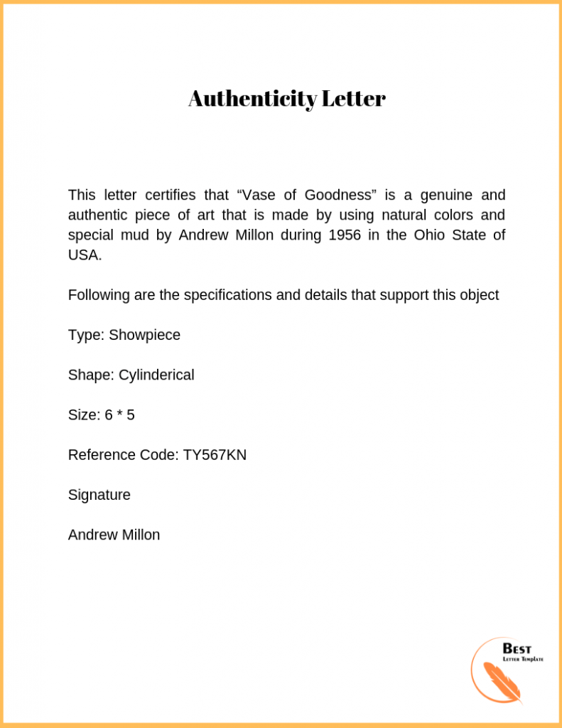 Authenticity letter