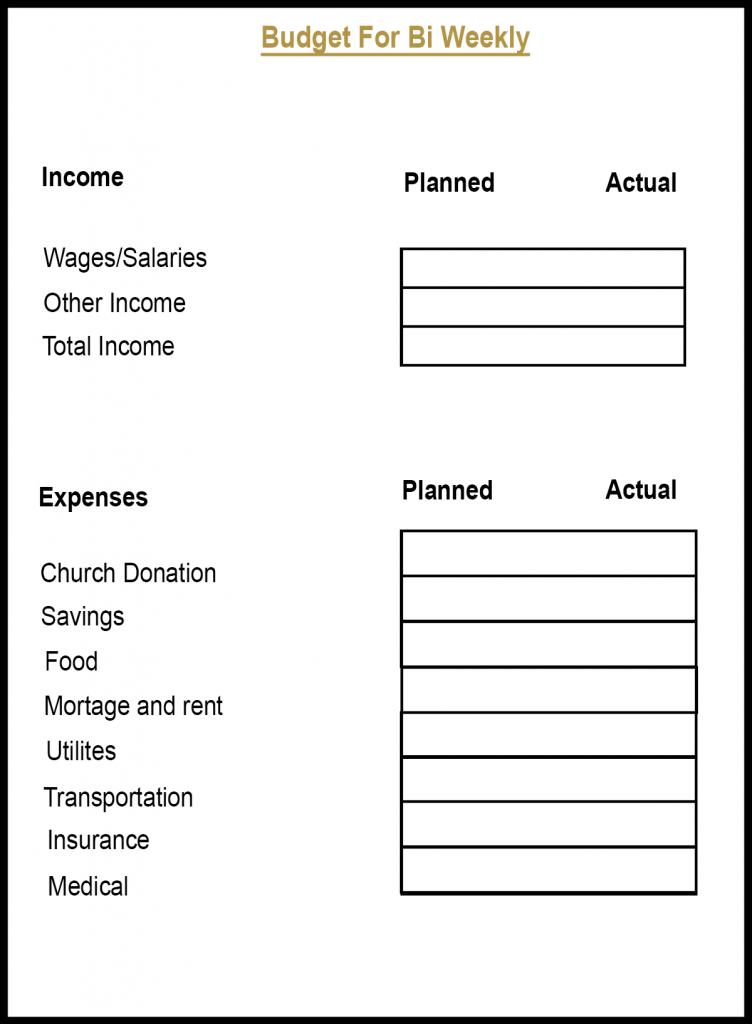 Bi-Weekly Budget Planner