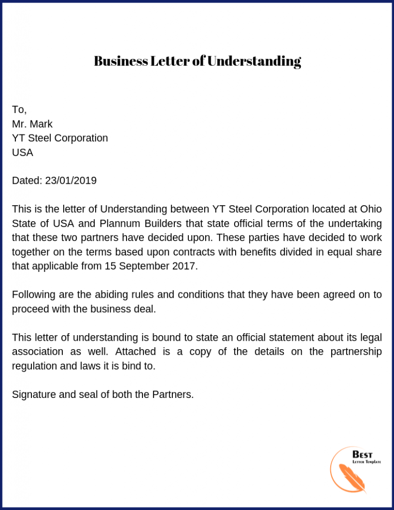 Business letter of understanding