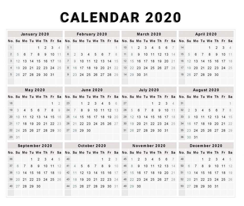 Calendar 2020 with Month