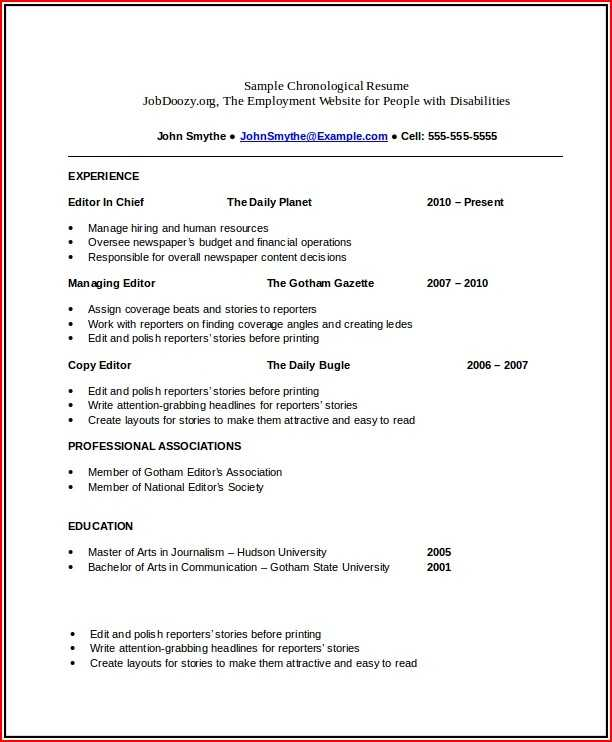 Chronological CV