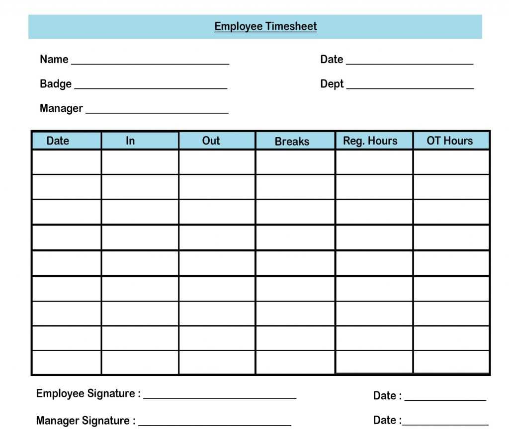 Timesheet Templates For Employee