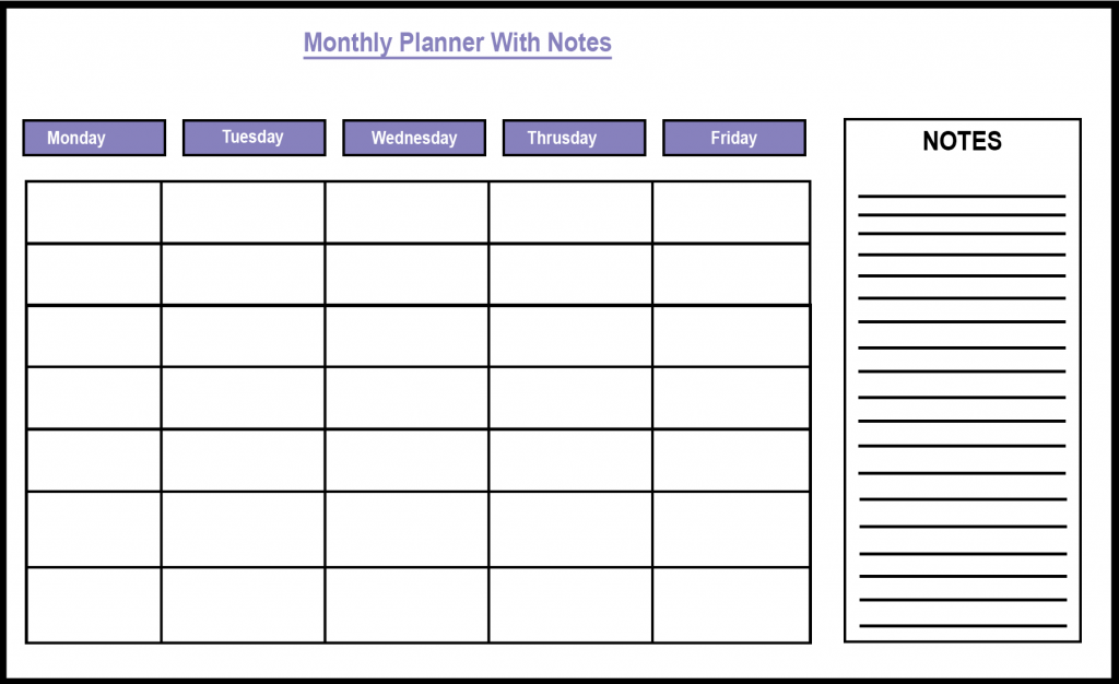 Monthly Planner with Notes