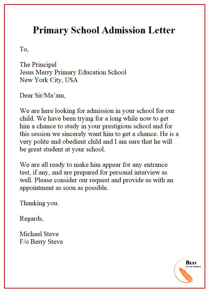 Primary School Admission Letter