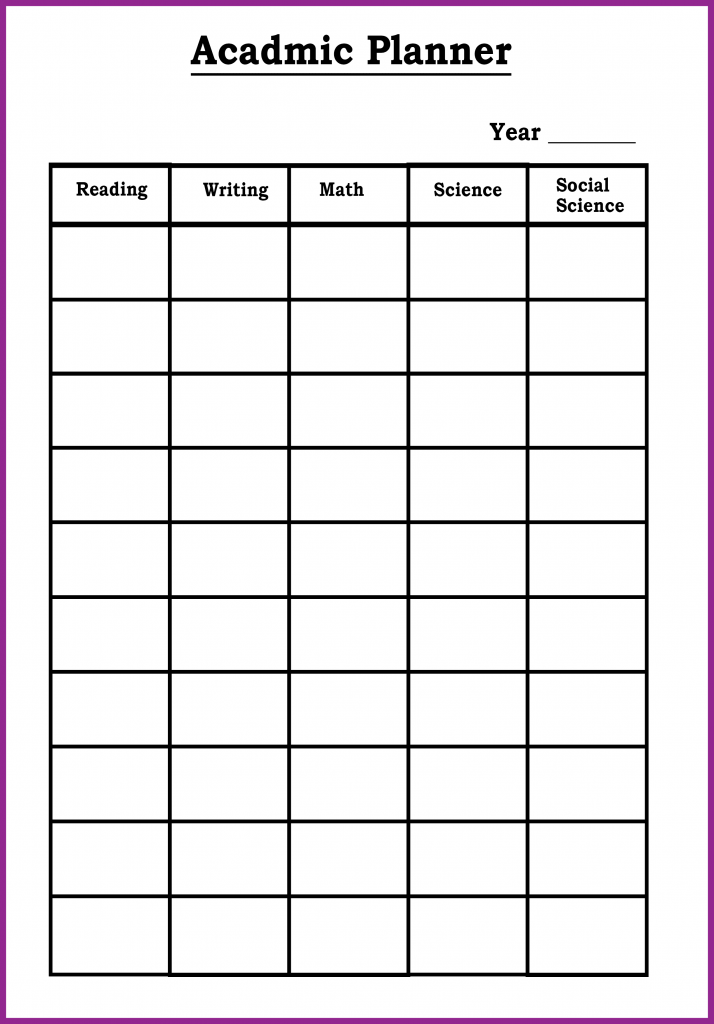 Academic Monthly Planner Template