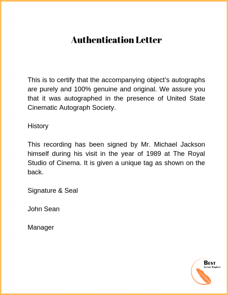 authentication letter
